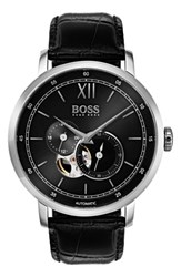 Boss Men's Signature Automatic Leather Strap Watch 44Mm Black Black