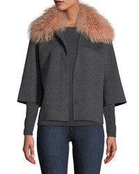 Neiman Marcus Luxury Double Faced Woven Cashmere Kimono Jacket W Fox Fur Collar Charcoal