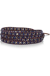 Chan Luu Leather Lapis And Bead Wrap Bracelet Brown