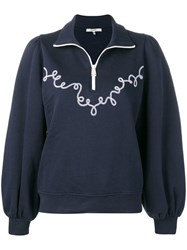 Ganni Embroidered Pull Over Sweater Blue