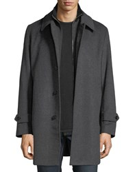 Sanyo Merled Wool Getaway Layered Topcoat Gray