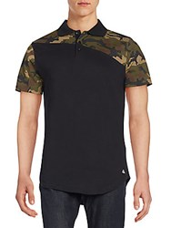 American Stitch Camo Print Polo Shirt Camo Black