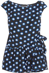 Boutique Moschino Ruffled Polka Dot Cotton Voile Top Black