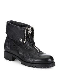 Alexander Mcqueen Fold Over Leather Moto Boots Black
