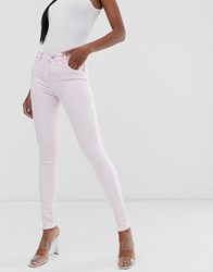 Replay Super Skinny High Waist Jeans In Bleach Pink Clear
