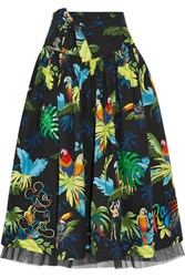Marc Jacobs Embellished Printed Cotton Blend Poplin Midi Skirt Black