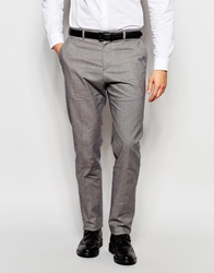 Reiss Dogtooth Trousers In Slim Fit Black