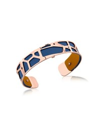 Les Georgettes Small Girafe Rose Gold Plated Bracelet W Navy Blue And Beige Reversible Leather Strap