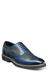 Stacy Adams Baxley Glen Plaid Wingtip Ink Blue Leather Suede