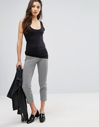 New Look Check Cropped Trousers Black Pattern