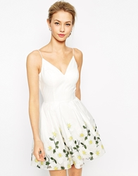 Chi Chi London Full Prom Skater Dress With Embroidered Daisy Hem White