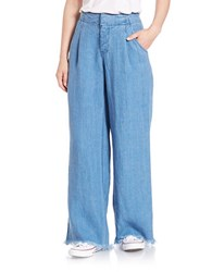 Free People Linen Wide Leg Jeans Indigo