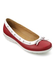 Hotter Gem Ballerina Style Shoes Red