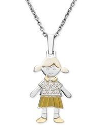 Macy's 14K Gold And Sterling Silver Necklace Diamond Accent Girl Charm Pendant