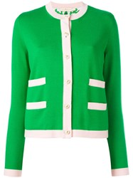 Tory Burch Contrast Trim Cardigan Green