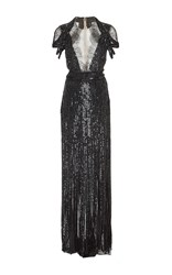 Monique Lhuillier Embroidered Fringe Skirt Gown Black