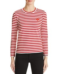 Comme Des Garcons Play Stripe Tee Red White
