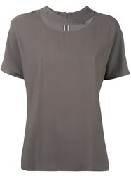 Eleventy Round Cut Out Neck Blouse Women Spandex Elastane Viscose 40 Grey