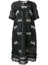 Rochas Dragonfly Embroidered Peasant Dress Black