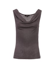 Morgan Glittery Knit Cowl Neck Sleeveless Top Grey