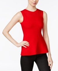Armani Exchange Peplum Knit Top Solid Red