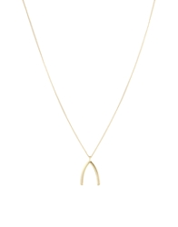 Asos Wishbone Long Pendant Necklace Gold