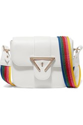 Sara Battaglia Lucy Textured Leather Shoulder Bag White