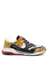 Gucci Ultrapace Croc Effect Leather And Suede Trainers Yellow