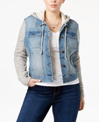 American Rag Trendy Plus Size Knit Sleeve Denim Jacket Only At Macy's Lauren Wash