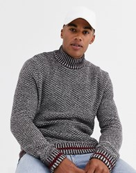 Only And Sons High Neck Textured Knitted Jumper In Dark Red