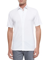 Ermenegildo Zegna Mr. Buttons Solid Button Down Shirt White
