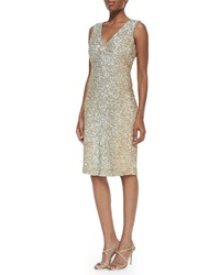 Pamella Roland V Neck Allover Sequin Dress