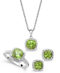 Macy's Sterling Silver Jewelry Set Peridot 4 3 4 Ct. T.W. And Diamond Accent Necklace Earrings And Ring Set