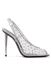 Tom Ford Embellished Pvc And Metallic Leather Slingback Pumps Silver
