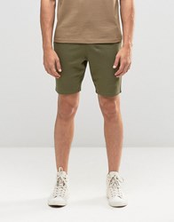 Asos Super Skinny Jersey Shorts In Khaki Burnt Olive Green