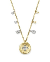 Meira T 14K White And Yellow Gold Diamond Cross Disc Necklace With Pearl Charms 18 White Gold