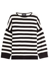 The Kooples Striped Cashmere Pullover Black