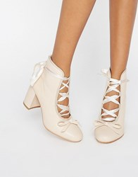 Daisy Street Nude Ballet Mid Heeled Ankle Boots Nude Pu Beige
