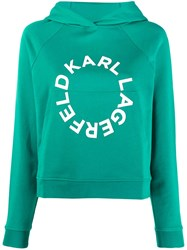 Karl Lagerfeld Cropped Hoodie With Circle Logo Green