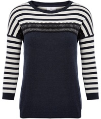 Cc Stripe Lace Insert Jumper Blue