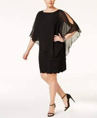 Xscape Evenings Plus Size Embellished Chiffon Capelet Shift Dress Black Black