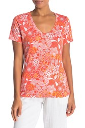 Tommy Bahama Arden Blooms U Neck Tee Burnt Coral