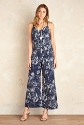 Anthropologie Serena Floral Wide Leg Jumpsuit Blue Blue Motif