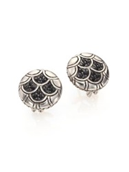 John Hardy Naga Black Sapphire And Sterling Silver Button Earrings Silver Black