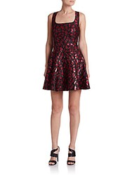 Diane Von Furstenberg Minnie Printed Fit And Flare Dress Lacquer Red