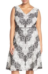 Plus Size Women's Adrianna Papell Chevron Lace Fit And Flare Dress