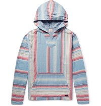 Faherty Baja Striped Cotton Twill Hoodie Blue
