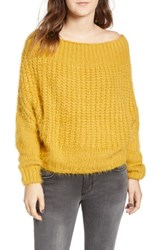 Dreamers By Debut Boatneck Knit Pullover Mustard