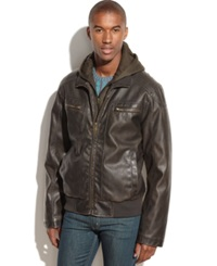 Sean John Hooded Faux Leather Bomber Jacket Brown