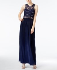 Amy Byer Bcx Juniors' Sequined Lace Illusion Gown Navy